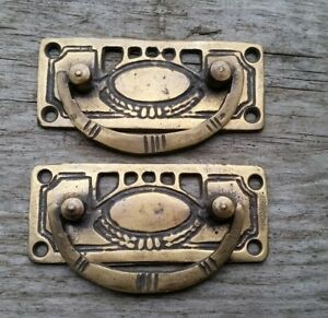 2 Arts And Crafts Antique Style Brass Handles Pulls Hardware 3 1 8 W H33