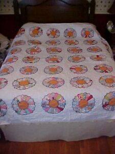 Vintage Appliqued Quilt Dresden Plate Orange Center