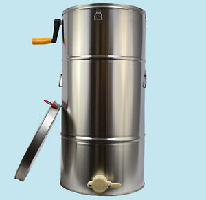Stainless Steel Two 2 Frame Bee Honey Extractor Honeycomb Drum Beekeeping Supply