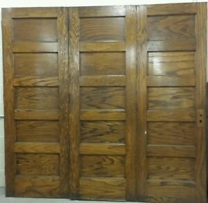 Antique Set Of 3 Folding Oak Doors 5 Panel