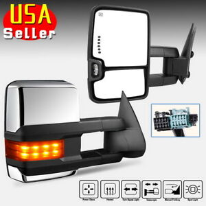 Chrome Tow Mirrors For 03 06 Chevy Silverado Power Heated Amber Signal Backup