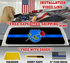 Thin Blue Line Police Support Nleom Logo Pickup Truck Rear Window Decal Tint
