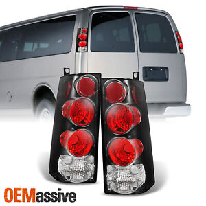 Fit 03 14 Chevy Express 1500 03 20 2500 3500 Black Tail Lights Lamps L r