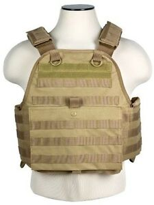 MOLLE PALS CHEST RIG KEVLAR ARMOR * PLATE CARRIER ONLY * TACTICAL VEST TAN BROWN