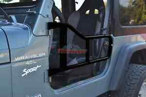 Steinjager Front Left Right Black Powder Coat Tube Doors For Jeep Wrangler Tj