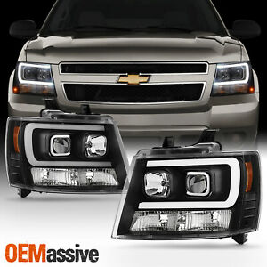 Fits 07 14 Chevy Suburban Tahoe Avalanche Black Led Drl Projector Headlights