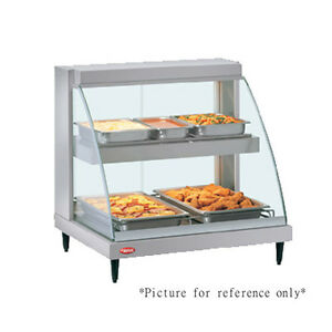 Hatco Grcd 2pd Countertop Heated Display W Curved Glass And 2 Pan Dual Shelves