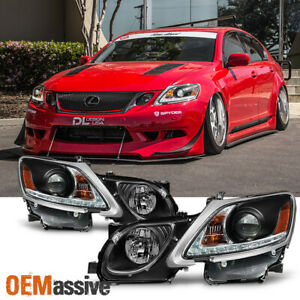 Fits 2006 2011 Lexus Gs300 Gs350 Xenon Hid Type Led Strip W drl Black Headlights