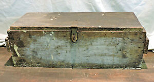 Antique Primitive Crate Made Wood Tool Chest Trunk Box W Tray Industrial Ohio