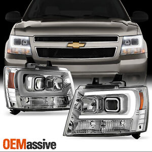 Fits 2007 2014 Chevy Suburban Tahoe Avalanche Led Drl Projector Headlights