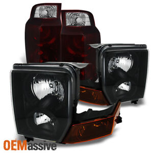 Fit 06 10 Jeep Commander Suv Black Headlights Dark Red Tail Lights Combo