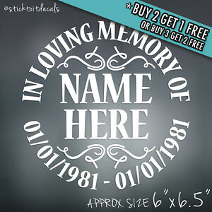 In Loving Memory Of Decal Custom Graphic Sticker Personalized Car Window Vinyl