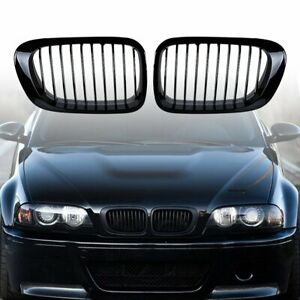 Gloss Black Front Kidney Grill For 1999 2000 2001 2002 Bmw E46 Coupe Convertible
