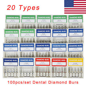 Us 500pcs 100 Boxes Dental Diamond Burs Medium Fg 1 6mm For High Speed Handpiece