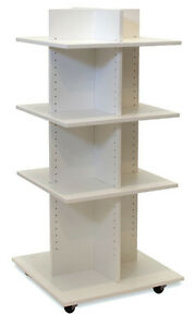 Shelf Tower White Wood Knockdown Rolling Fixture Made In The Usa Display New