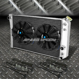 3 Row Aluminum Radiator 2x 12 Fan Black For 82 02 Chevy S10 Blazer Corvette V8
