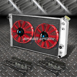 3 Row Aluminum Radiator 2x 12 Fan Red For 82 02 Chevy S10 Blazer Corvette V8