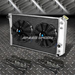 3 Row Aluminum Radiator 2x 10 Fan Black For 82 02 Chevy S10 Blazer Corvette V8