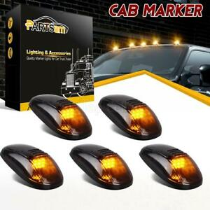 5x Amber Led Cab Roof Marker Lights Smoke Cover For Dodge Ram 2500 3500 99 02