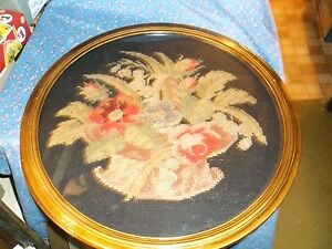 Beautiful Victorian Basket Flowers Needlework 17 3 8 Wide W Frame Frame Wear