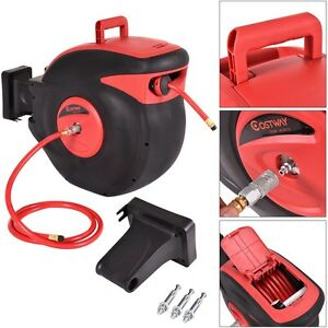 Red 100ft Retractable Air Compressor Hose Reel 300 Psi Auto Rewind Garage Tools