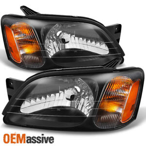 Fit 00 04 Subaru Legacy L 03 06 Baja Sport Model Black Headlights Replacement