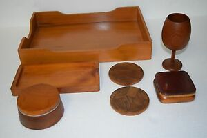 Vintage Wood Desk Organizer File Box Tray Round Holder Coasters