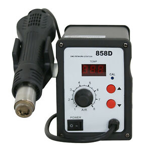 858d Smd Hot Air Rework Heat Station Hot Blower Hot Air Gun Led 3 Nozzles