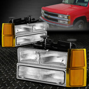 For 94 99 Chevy C10 C K Pickup Truck Oe Clear Lens Headlight Amber Signal Lamp