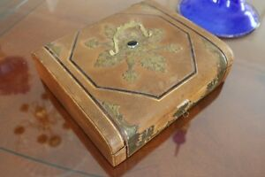Antique Leather Covered Lacemaker S Sewing Needlework Box Brass Inlay Silk Lined