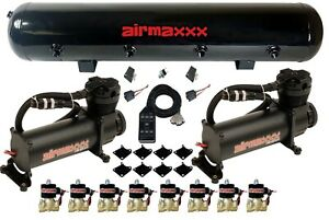 Airmaxxx Black 480 Air Ride Compressors 1 2 Brass Valves Black 7 Switch Tank