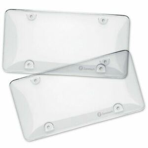 Zone Tech 2 Clear License Plate Tag Frame Covers Bubble Shields Protector Car