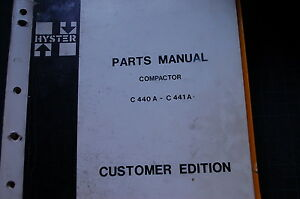 Hyster C440a C441a Compactor Roller Parts Manual Book Vibratory Smooth Drum 1975