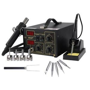 852d 2in1 Rework Soldering Welder Hot Air Gun Iron Smd Station Kit 5 Tip Set Ce