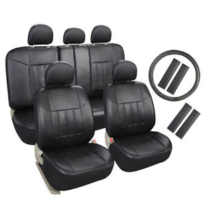 Auto Universal Fit Leather Seat Covers Set For Car Suv Trucks Black Front