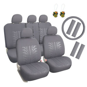 Universal Fit 17pcs Car Seat Cover Front Rear Seat Protector Grey W seat Pads