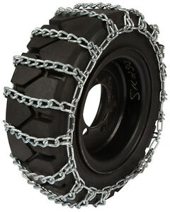 10x16 5 Skid Steer Tire Chains 8mm 2 link Spacing Loader Bobcat Traction