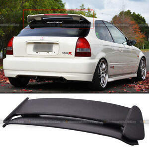 For 96 00 Civic Hatchback Ek Type r Style Abs Roof Spoiler Led 3rd Brake Light