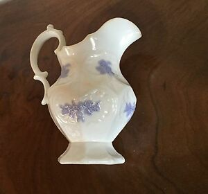 Antique 19th C Porcelain Pitcher Jug Creamer White With Lavender Sprig Sprigged