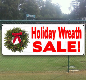 Holiday Wreath Sale Advertising Vinyl Banner Flag Sign Many Sizes Available
