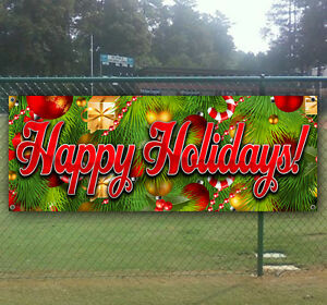 Happy Holidays Advertising Vinyl Banner Flag Sign Many Sizes Available