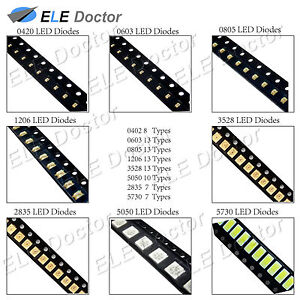 0402 0603 0805 1206 1210 3528 5050 Smd Smt Led Diodes White Red Blue Light Bulb