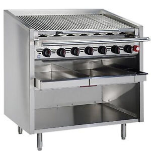Magikitch n Fm smb 624 24 Floor Gas Charbroiler With Ceramic Coal Screen
