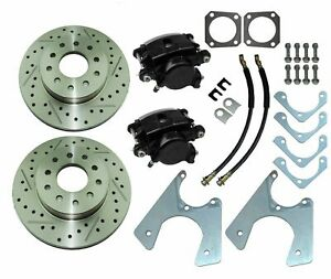 67 81 Staggered Rear End Axle Disc Brake Conversion Kit 10 12 Bolt Slotted Rotor