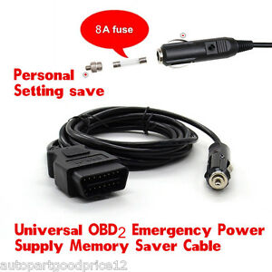 Obd2 Obdii Automotive Ecu Emergency Power Supply Cable For Memory Saver 3 Meters