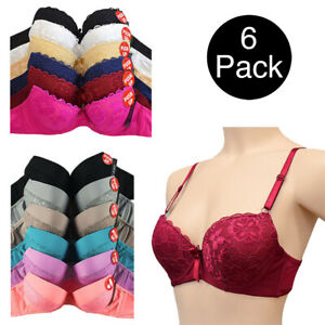 6 Push Up Bras Lace Floral Sexy Lift Wired Basic Colors Padded Pack Lot B C Cup
