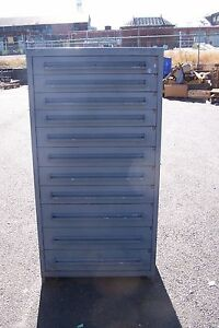 Stanley Vidmar Grey 11 Drawer Tool parts Cabinet 30 l X 28 w X 59 H
