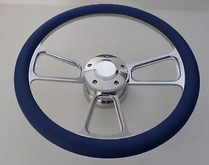 Royal Blue Half Wrap 14 Billet Steering Wheel Kit With Hub Adaptor Horn Button