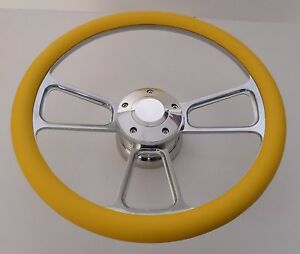 Yellow Half Wrap 14 Billet Steering Wheel Kit With Hub Adaptor Horn Button