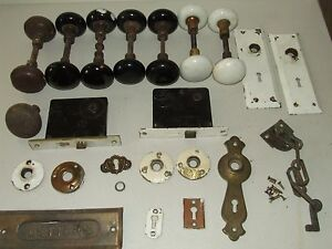 Antique Lot Of 15 Porcelain Door Knobs And Hardware From New England Home B